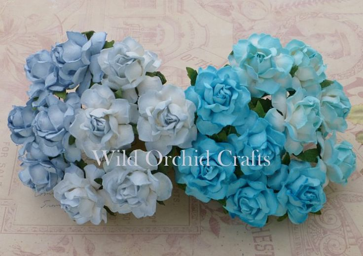 20 MIXED BLUE TONE MULBERRY PAPER COTTAGE ROSES 1""