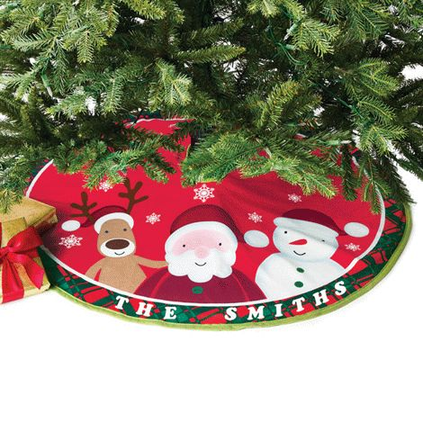Happy Jolly Merry Tree Skirt reg.  $19.99 Product Number  1017865 AVON EXCLUSIVE  Includes iron-on letters for personalization. www.Facebook.com/shopavonwithdeon