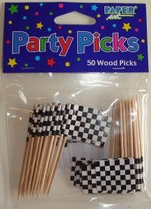 Chequered flag cocktail sticks. Perfect!