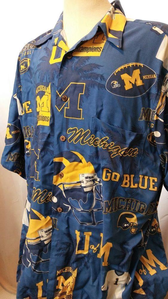 Reyn Spooner ~ Michigan Wolverines Football ~ALOHA  Hawaiian Shirt ~Tom Brady~ M #ReynSpooner #Hawaiian