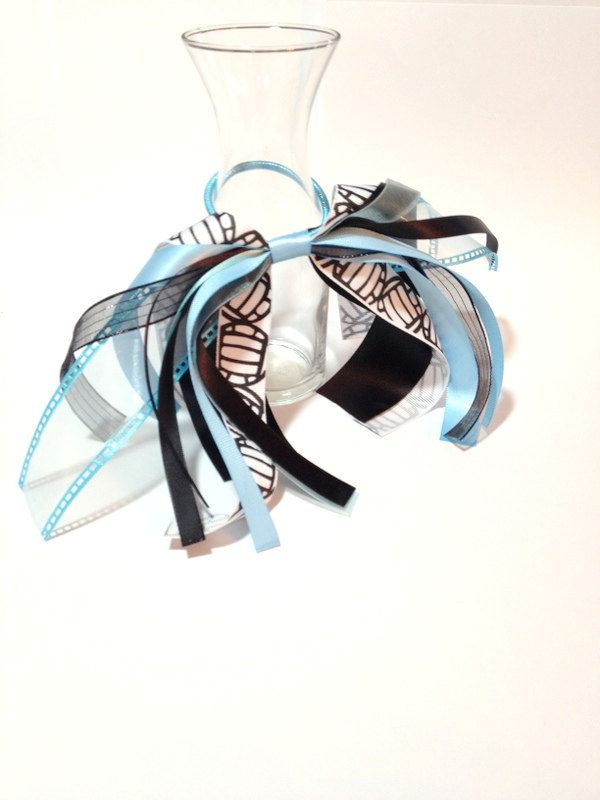 Volleyball Hair Ribbon, Sport Hair Ribbons, Blue & Black, School Colors, Hair Bows for Girls, Team Uniforms, Hair Ties and Elastics by FlyingCraneRibbons on Etsy