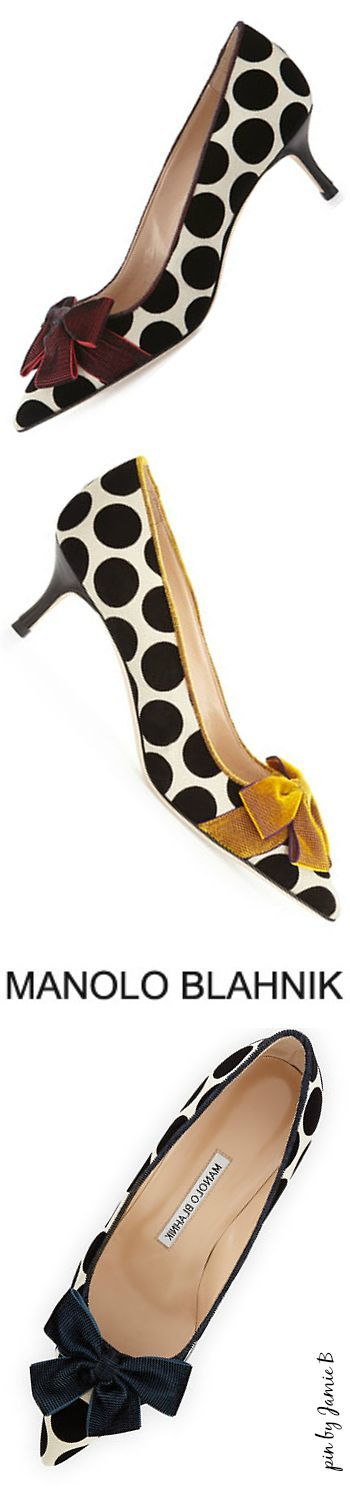 Manolo Blahnik Fall 2015 | Gorina Velvet Polka-Dot Pump | House of Beccaria~