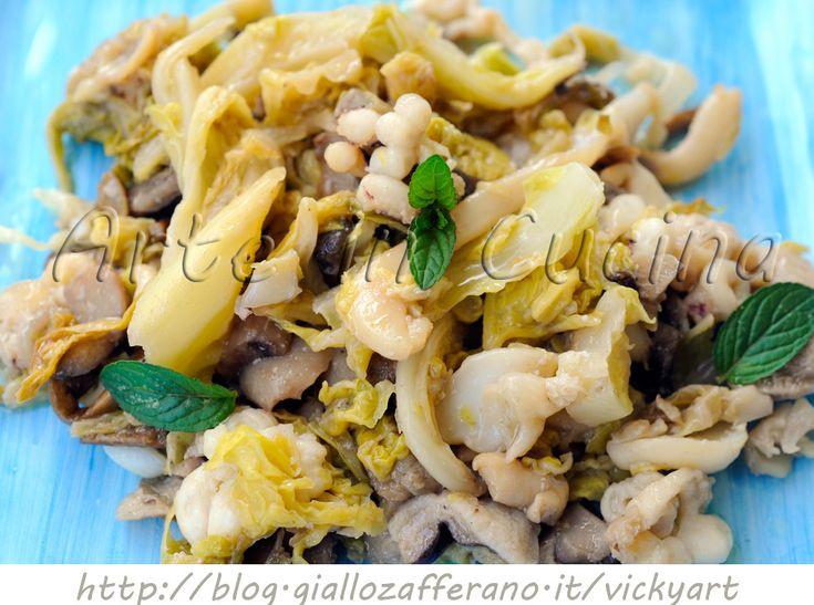 Seppie con verza e funghi ricetta leggera vickyart arte in cucina