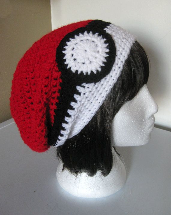 Pokeball Slouchy Hat by ShopOfManyThings on Etsy, $20.00 *could totally make*