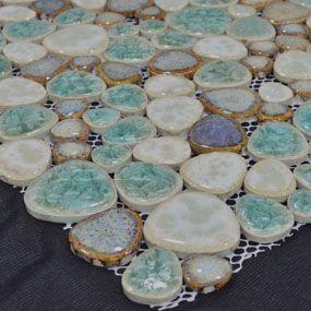 Beautiful Porcelain Pebble Tile for Bath & Backsplash Porcelain Wall Tile & Floor Tile - Sku:POP004 ︳BuilderElements.com  Floor in one of the showers?