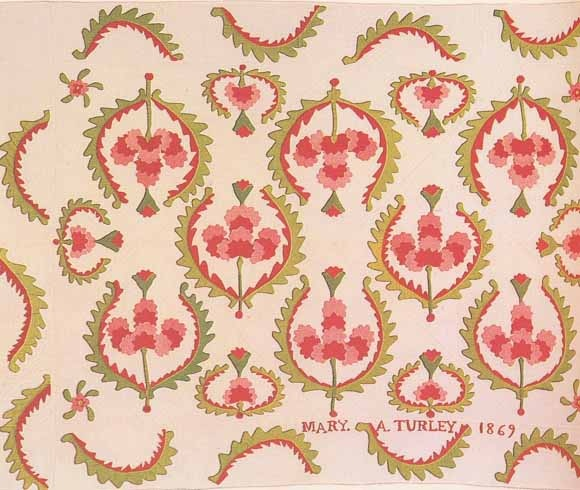 Applique Quilt, 1869. Made by Mary A. Turley Morgan. Kansas.