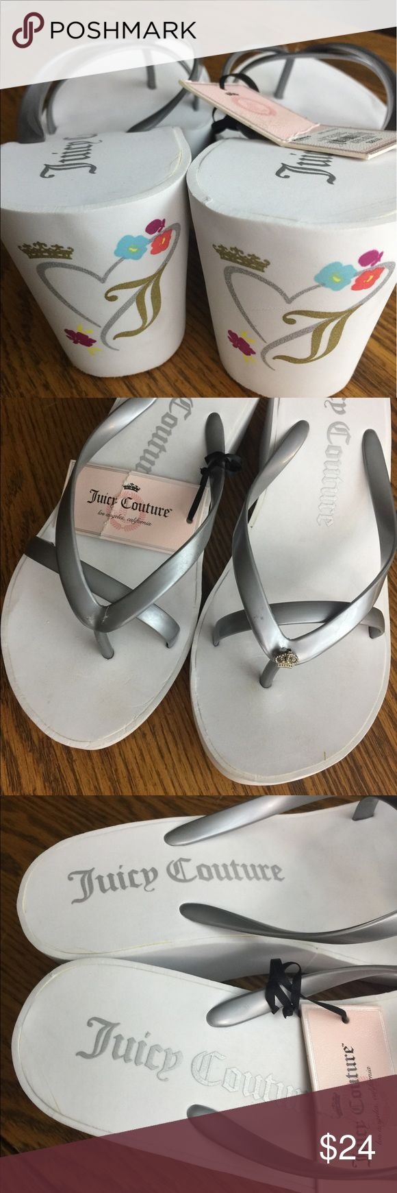 Juicy Couture White Tattoo Sandals M 7-8 New Juicy Couture white sandals silver straps  One sandal is missing the charm on the toes  White tattoo wedges  Soft soul  Perfect summer sandal would pair perfect with jeans, shorts, or a dress!! Shoes have some light scuffs and marks Juicy Couture Shoes Wedges