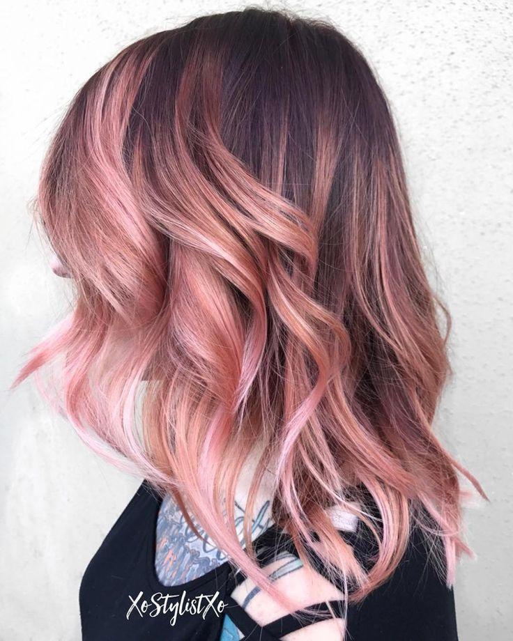 Pastel Pink Balayage For Brown Hair Summer Hair Inspiration Summer Haircolor Summer Hair Colour Summer Ha Pink Short Hair Rose Gold Balayage Hair Color Pink