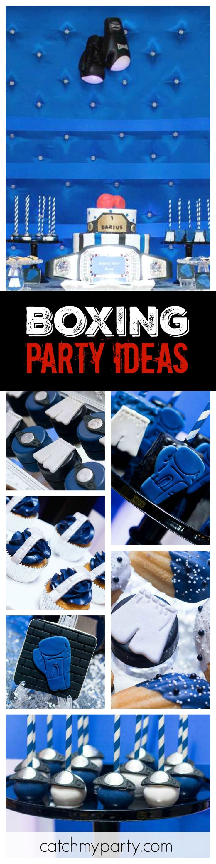 Jump in the ring and check out this smash Boxing birthday party! Love the ring inspired dessert table!! See more party ideas and share yours at CatchMyParty.com