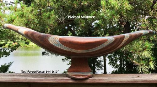 Most Favored Vessel is made from laminated and carved birch and Luan plywood.