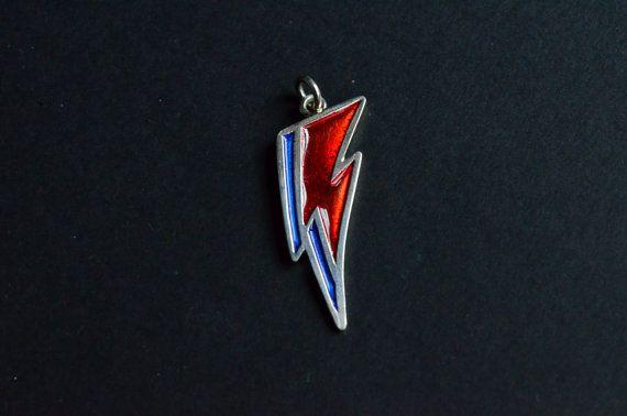 Collana David Bowie,ciondolo unisex argento 925 Aladdin Sane, collana unisex argento smalto a freddo rosso e blu, Fatto a mano made in italy