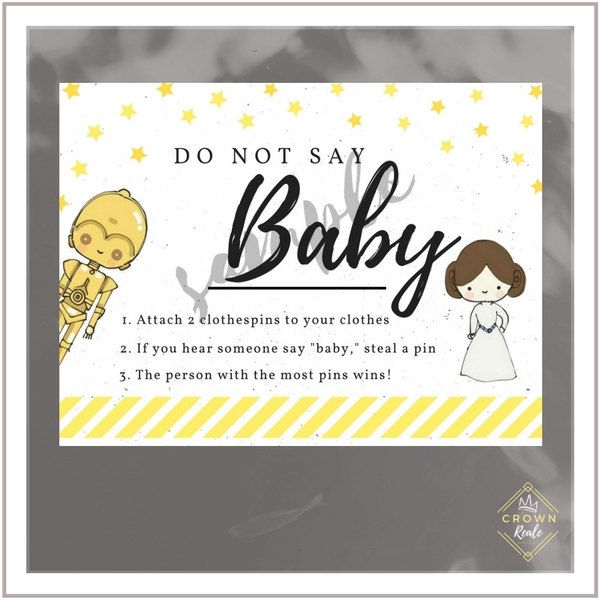 Baby Shower Game, Don't Say Baby, Clothes Pins, Welcome Baby, Pink, Yellow, Star Wars, Princess Leia, Cartoon Star Wars, Stars by CrownRealeDesigns on Etsy