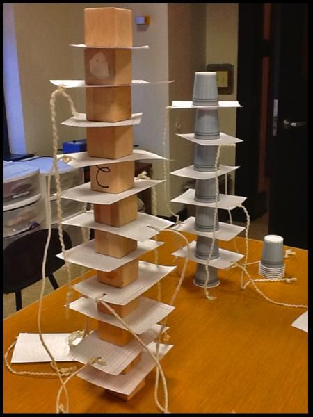 Inertia towers prepared for activity-introduction to Newton's First Law, otherwise known as the Law of Inertia