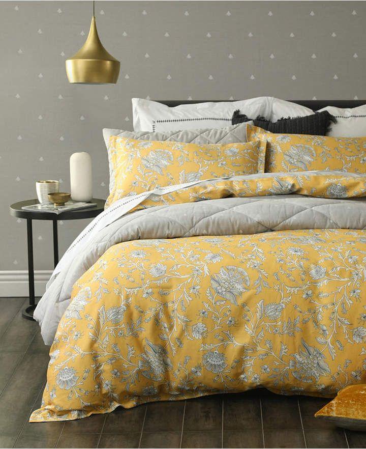 Small World Home Simone 3 Pc 100 Cotton Reversible Queen Duvet Set Bedding Duvet Cover Sets Duvet Covers Yellow Duvet Sets