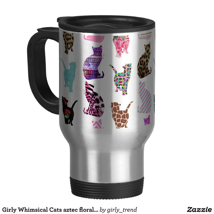 Girly Whimsical Cats aztec floral stripes pattern Stainless Steel Travel Mug