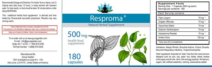 The herbal food supplement RESPROMA is a remedy for Allergic Rhinitis, Bronchial Asthma, Chronic Sinusitis, Recurrent Respiratory infections, Tropical Eosinophilia, Chronic Obstructive Pulmonary Disease (COPD)
