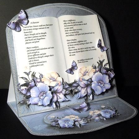 Flowers Pearls BLUE Poem Easel Book Kit on Craftsuprint designed by Jean King - made by Dianne Jackson - I printed onto good quality smooth card and made up following the easy and straight forward instructions. I decoupaged with sticky pads and shaped the butterfly wings outwards. There is plenty of pieces to decoupage in this kit for maximum 3D effect. The results are stunning. This really has the wow factor - Now available for download!