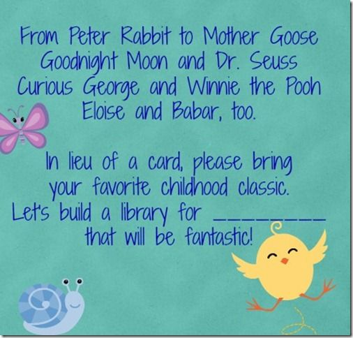 Book In Lieu Of Card For Baby Shower Serendipity Babies