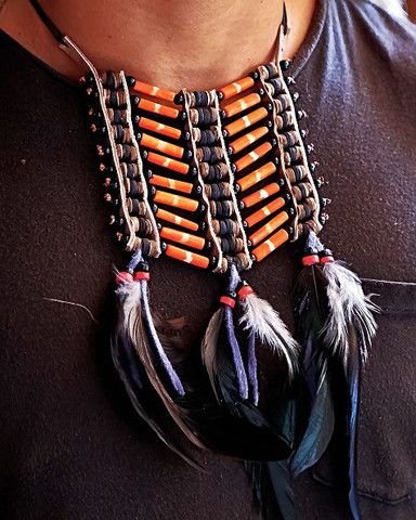 Native American Breatplate - Small Orange - $24