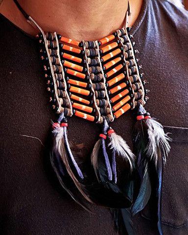 Native American Breatplate - Small Orange - $24