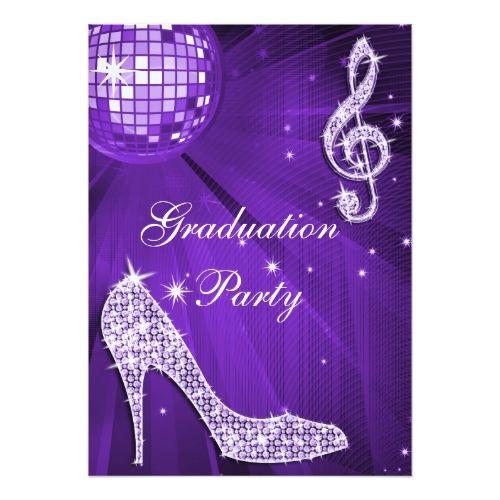 Purple Disco Ball Sparkle Heels Graduation Card