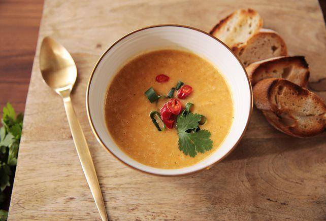 Bloemkool curry en kokosmelk soep