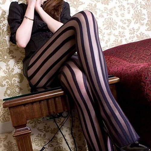 Style Women's Sexy Wide Stripes Transparent Breathable Tights Stockings Pantyhose 8FFJ
