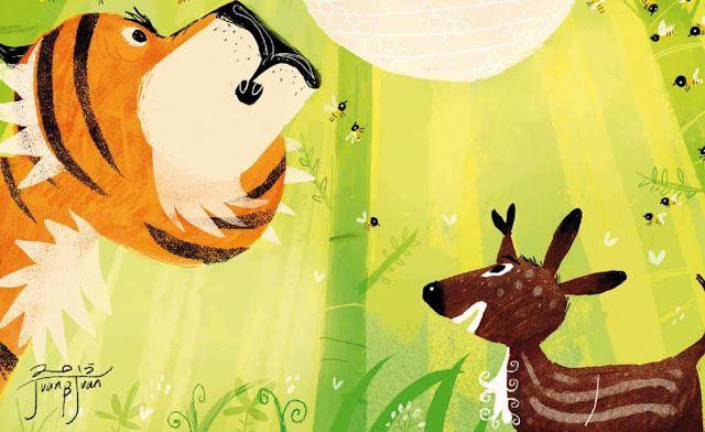 "juanbjuan children illustration: ""Sang Kancil and the Tiger"""
