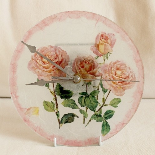 Hand decorated glass - romantic style wall clock - Pink roses £30.00