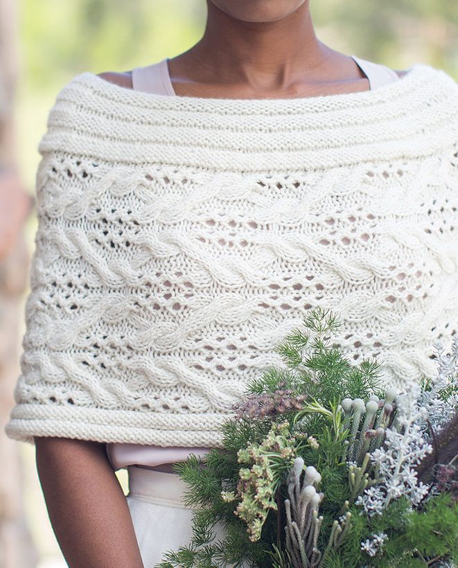 Knitting Pattern for Solstice Capelet - Graceful pullover capelet wrap / poncho in cables and lace. Designed byMonika Sirna
