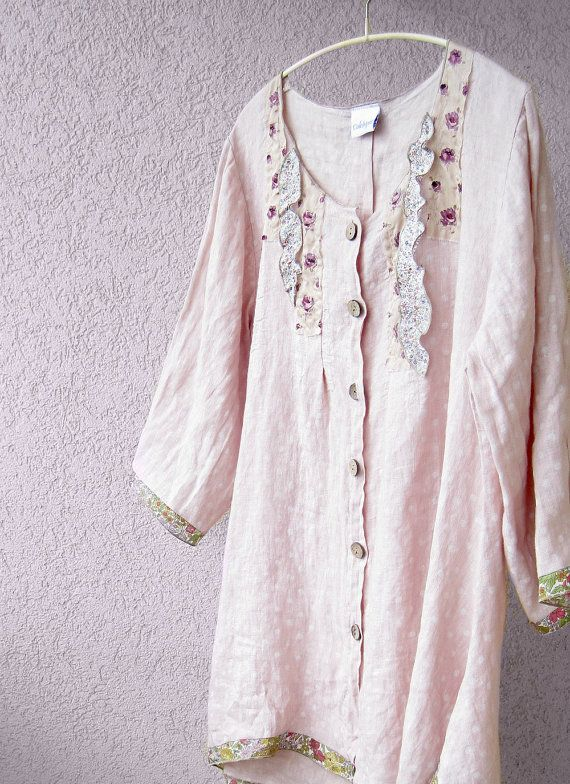 Large romantic woman shirt in tender pink linen with by Colchique