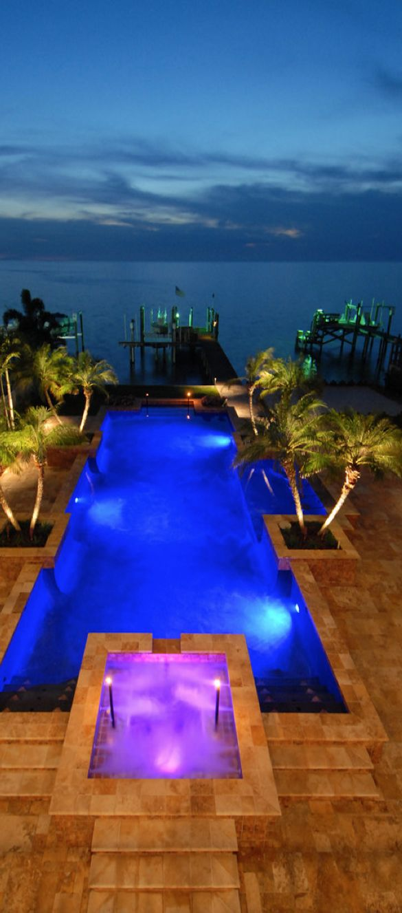 LED Lighting Creates this Effect. Four Seasons Pools Installs LED Lighting for Pools and Spas. www.poolservicespecialists.com