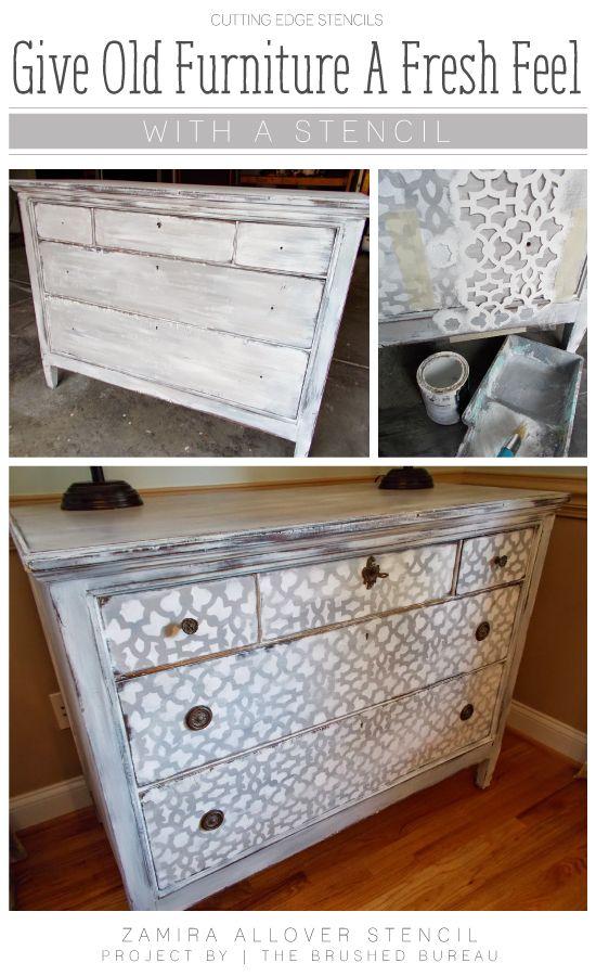 A Diy Stenciled Dresser Using The Zamira Allover Stencil Pattern Http Www
