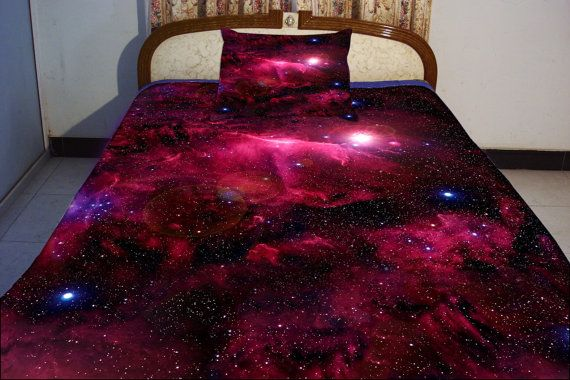 Galaxy bedding set two sides printing galaxy twin quilt cover galaxy bed sheets with two matching galaxy pillow covers