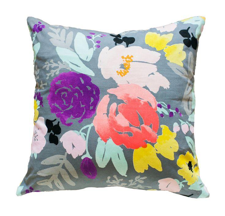 Bridge City Blooms Pillow on Grey