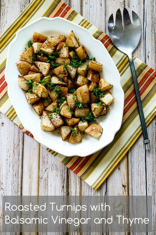 Turnips don't get much respect, but these Roasted Turnips with Balsamic Vinegar and Thyme are really delicious. [from Kalyn's Kitchen] #Paleo  #LowCarb