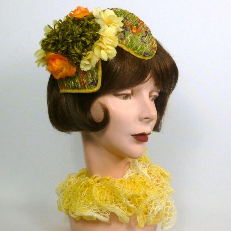 Green, Orange, Yellow Fascinator Hat - Handmade - Embroidered Designer Fabric…