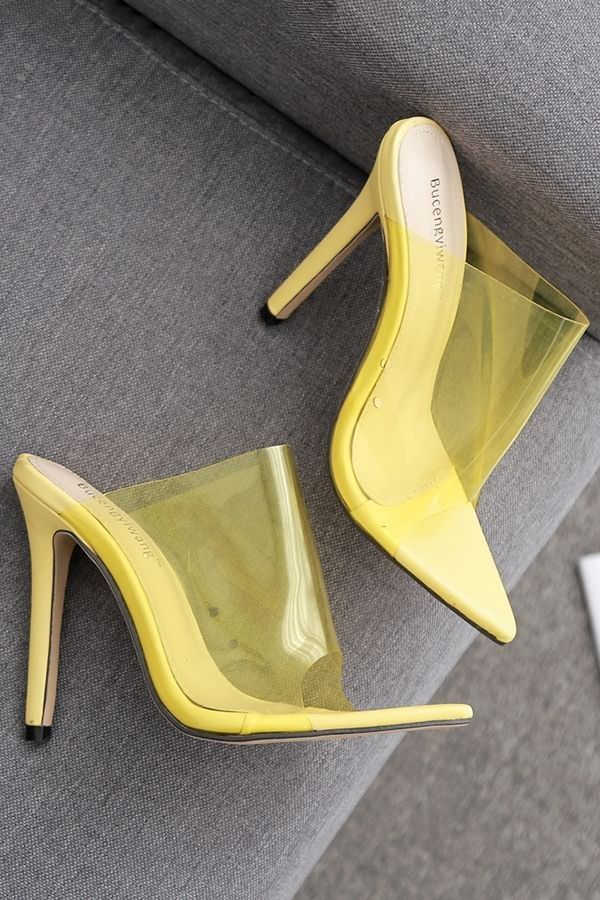 Yellow Clear Stiletto High Heel Mules
