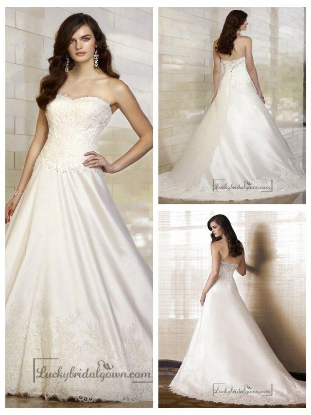 Elegant A-line Sweetheart Lace Vintage Wedding Dresses