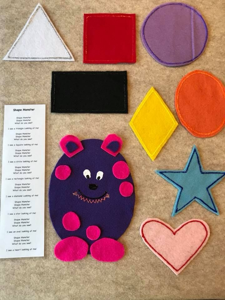 The Shape Monster felt story comes with 8 different shapes that can easily turn a group activity into a learning activity. Children can sing the familiar verse for a fun way to learn shape recognition. And who doesn't love a purple monster?!  Comes in a resealable bag, with a laminated verse.