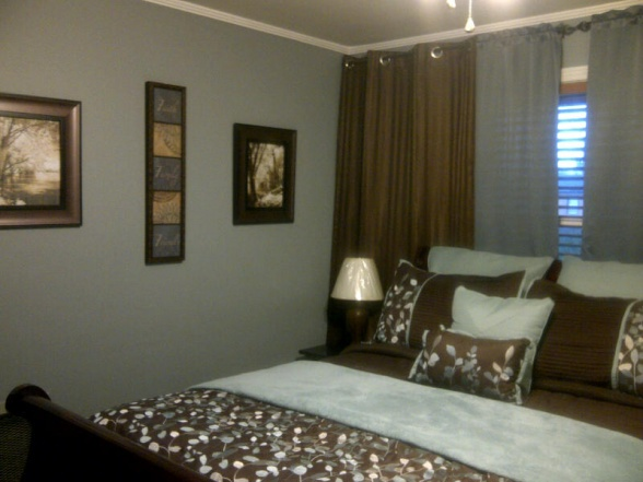 Blue/gray and brown!  Love the curtains behind the bed!