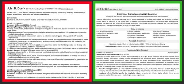 Before and after chronological resume sample