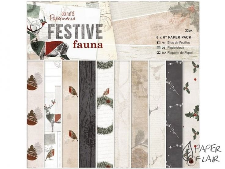 Scrapbookingpapier - Festive fauna. Paperflair.de