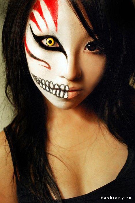Страшные рисунки на лице на хэллоуин фото