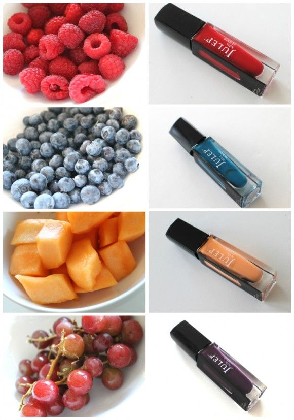 Fruit + Nail Polish: Polish Colourfulnail, Polish Nails, Purple Nails, Nails Polish, Cantaloupepeach Nails, Fruit Nails, Creative Nails, Fruit Colors, Blueberriesblu Nails
