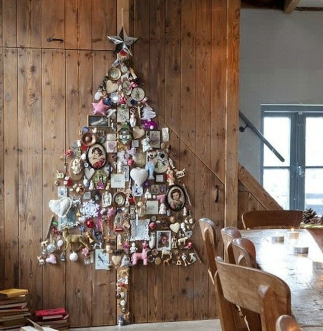 petit sapin de Noel abstrait mur