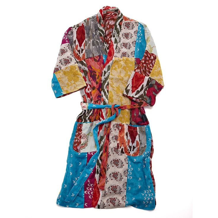 Lounge in the lavish style of a true maharani with this luxurious robe made of rich strips of reclaimed saris.