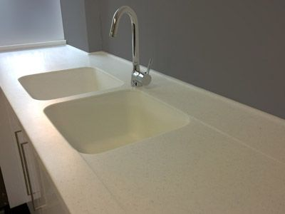 Corian acrylic synthetic benchtop sink with moulded built for Stainless steel countertop with built in sink