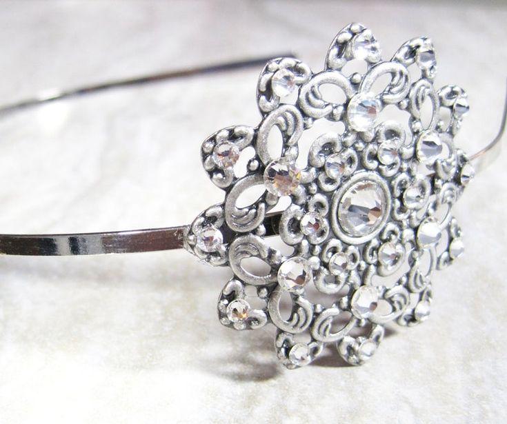 Antique silver flowergirl rhinestone headband, Swarovski crystal bridal headpiece, junior bridesmaid headband, crystal prom hair accessory