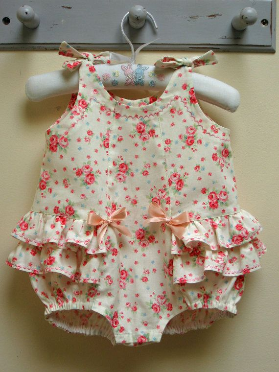 Baby's Romper Sewing Pattern Rose Bud Romper by FelicityPatterns, $7.95